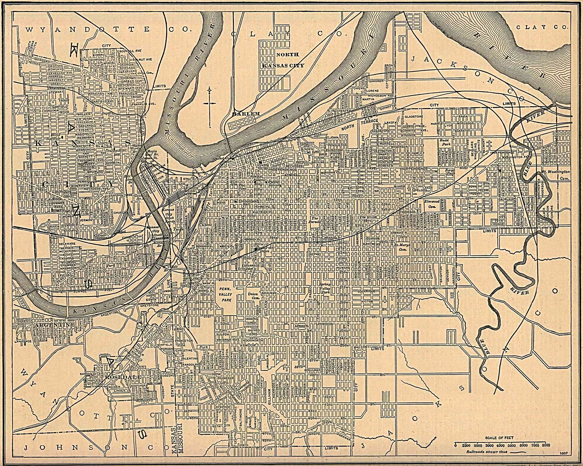 Kansas City Map, Kansas and Missouri 1907