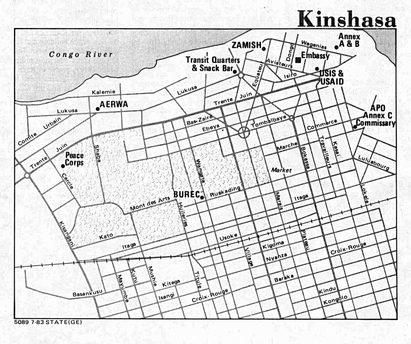 Kinshasa City Map, Democratic Republic of the Congo (Zaire)
