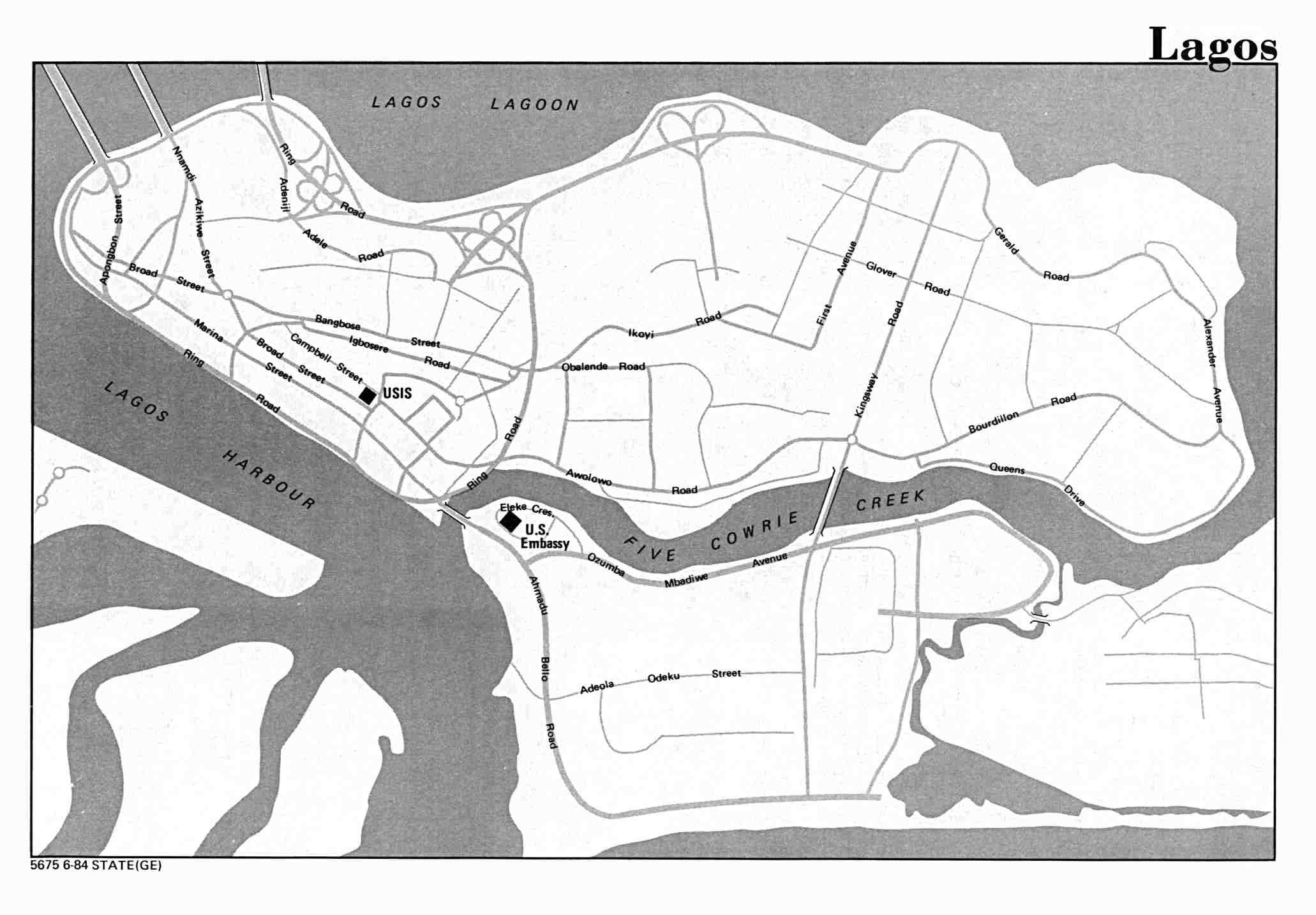 Lagos City Map, Nigeria