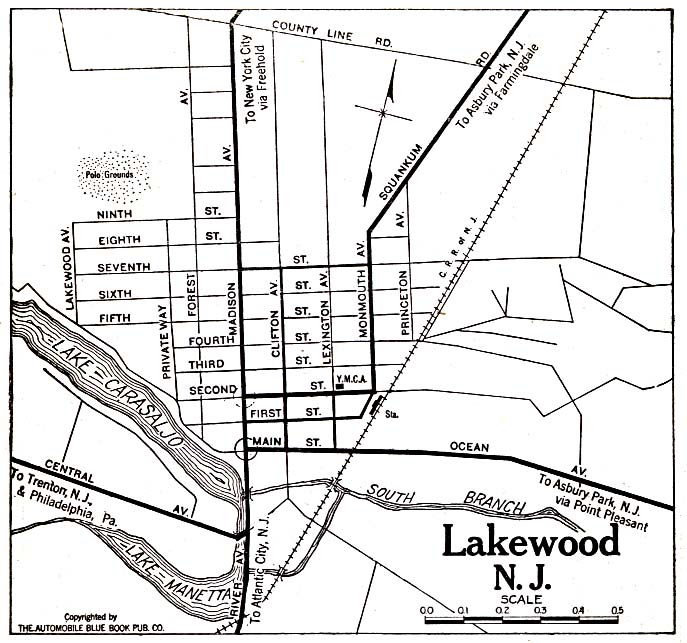 Lakewood City Map, New Jersey, United States 1920