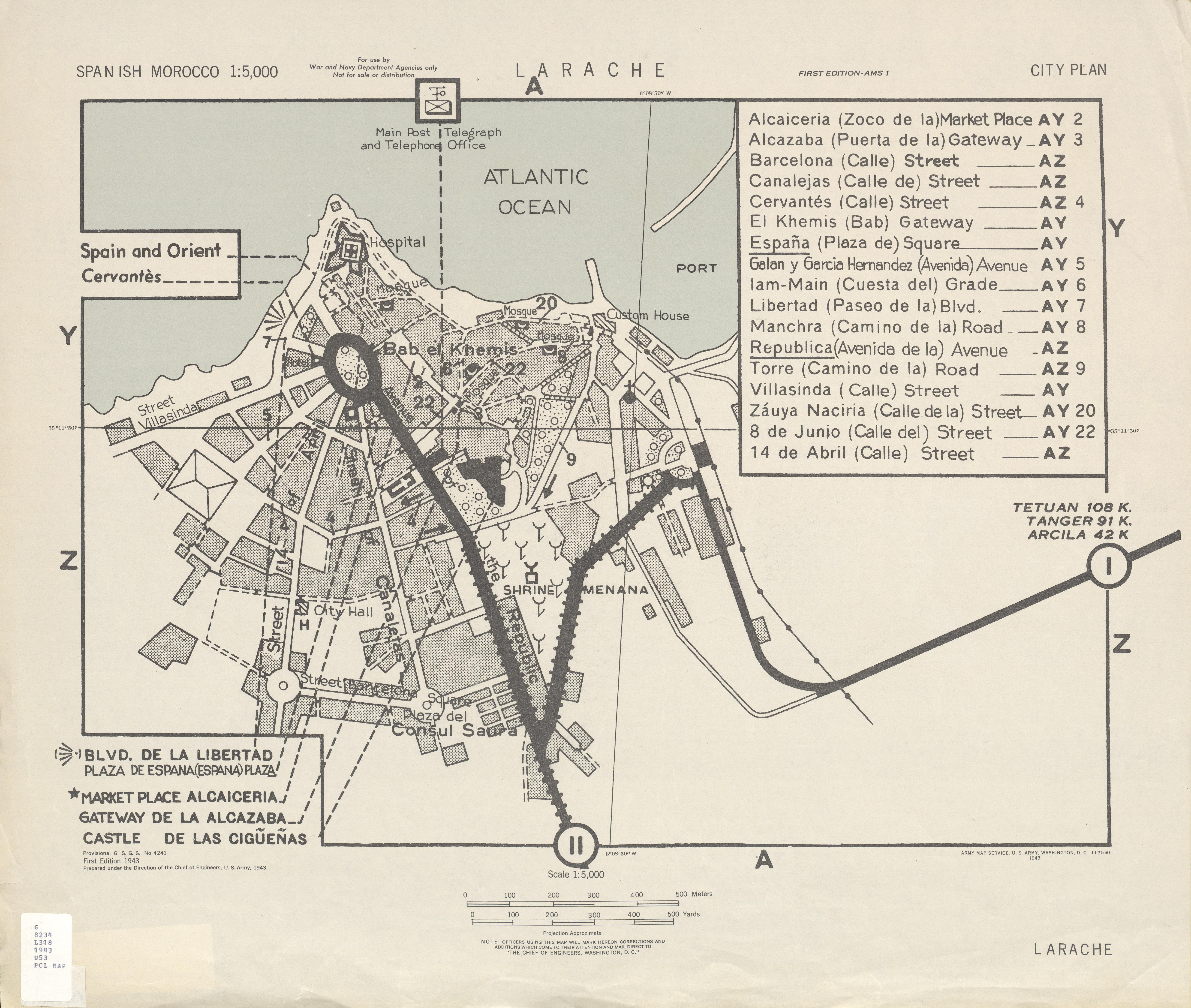 Mapa de la Ciudad de Larache, Marruecos 1943