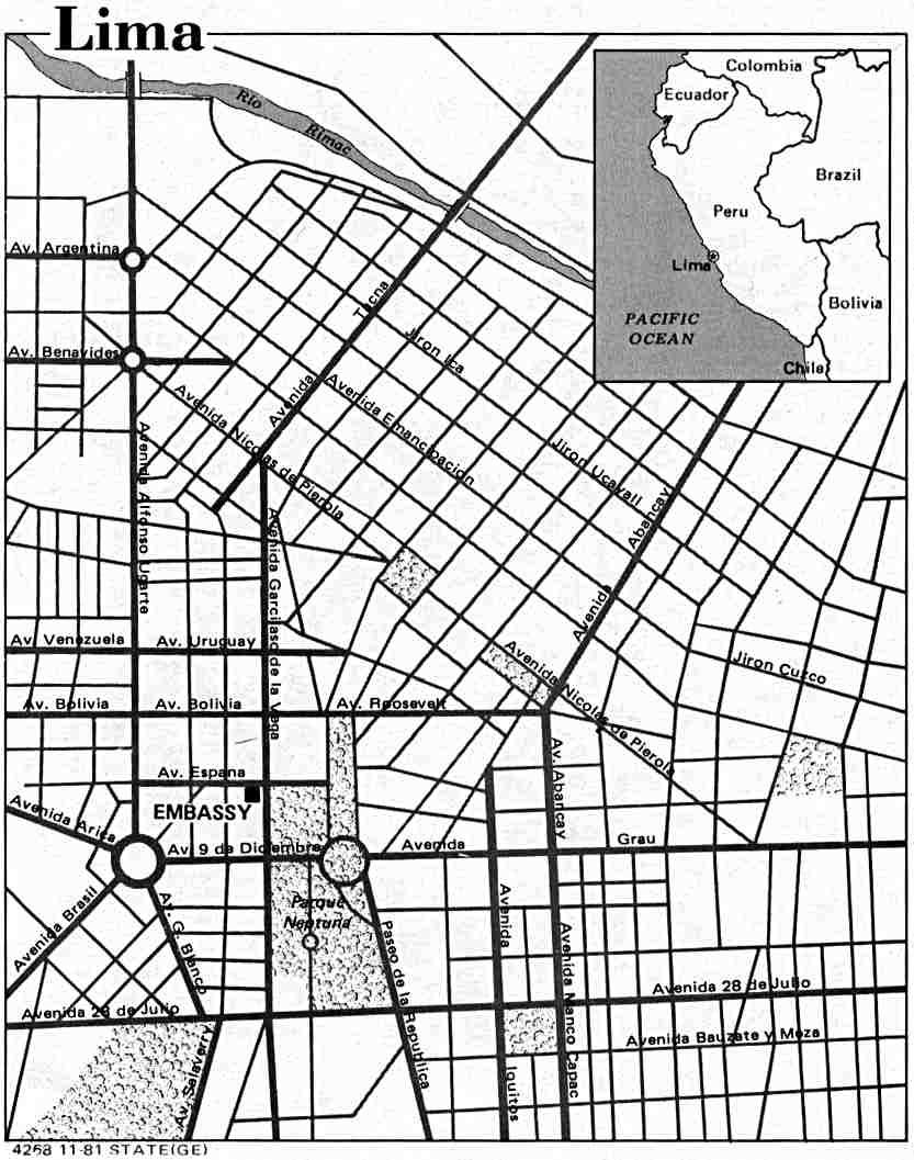 Lima City Map, Peru