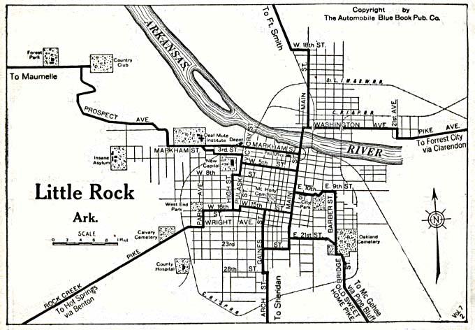 Mapa de la Ciudad de Little Rock, Arkansas, Estados Unidos 1920