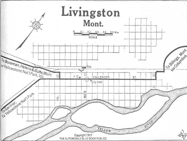 Mapa de la Ciudad de Livingston, Montana, Estados Unidos 1917