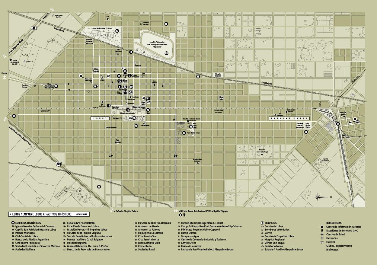 Mapa de la Ciudad de Lobos, Prov. Buenos Aires, Argentina