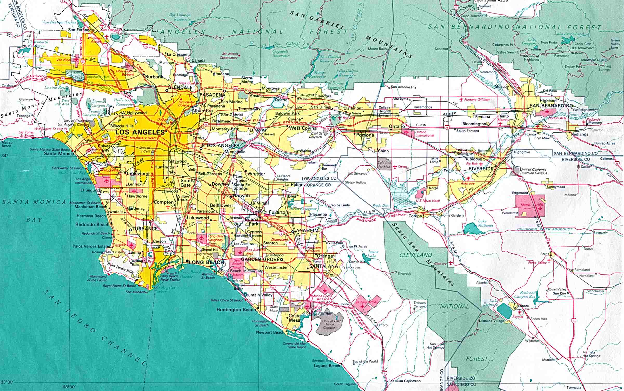 Los Angeles City Map, California, United States
