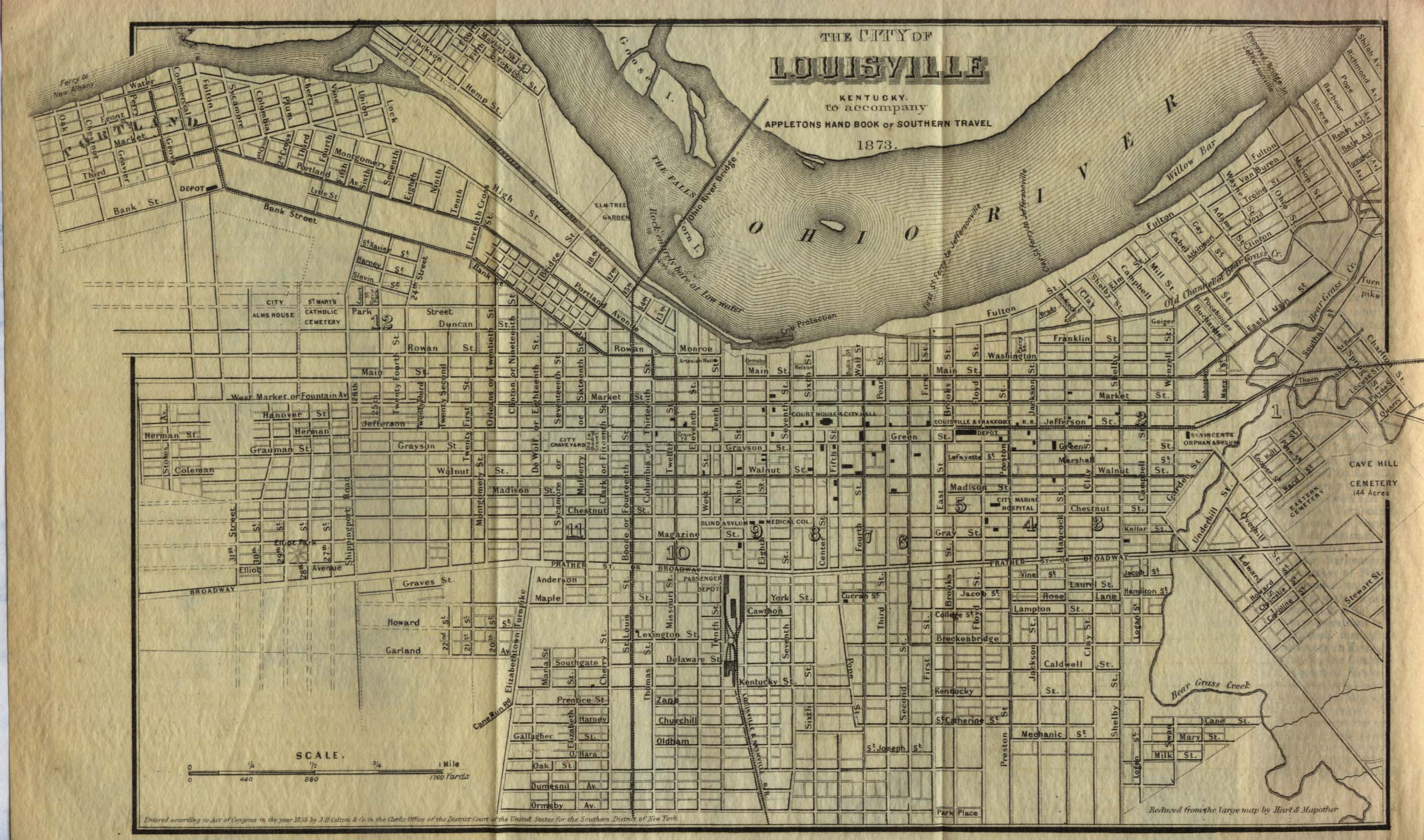 Louisville City Map, Kentucky, United States 1855