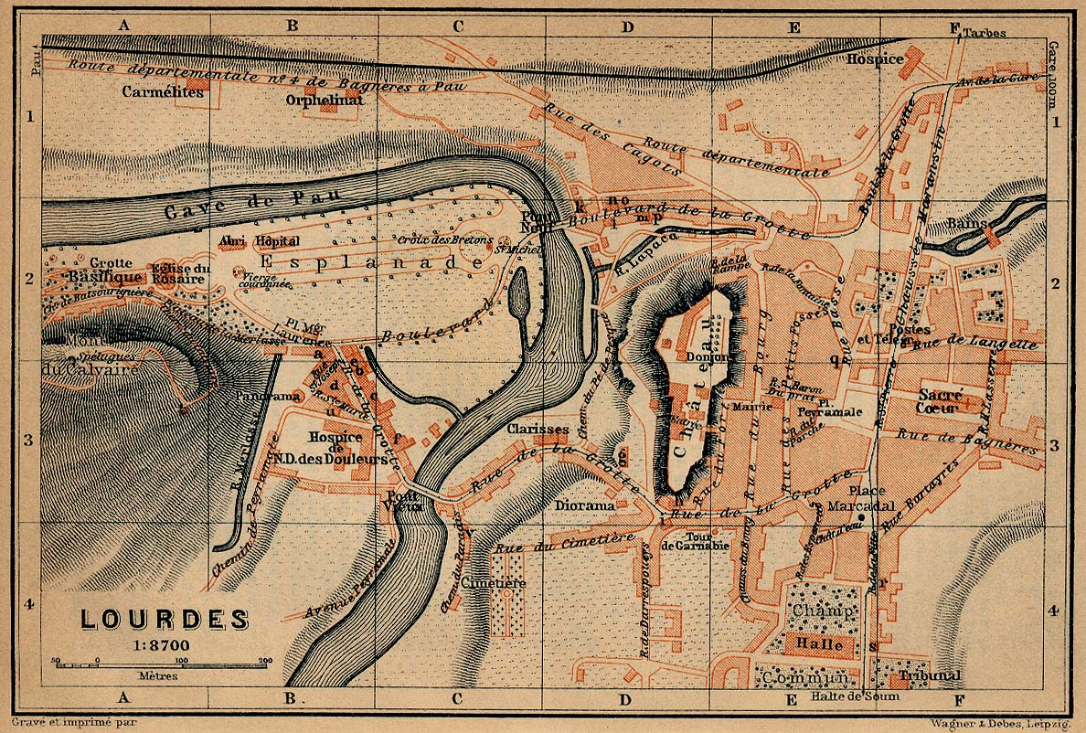Mapa de la Ciudad de Lourdes, Francia 1914