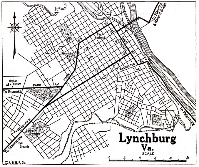 Lynchburg City Map, Virginia, United States 1920