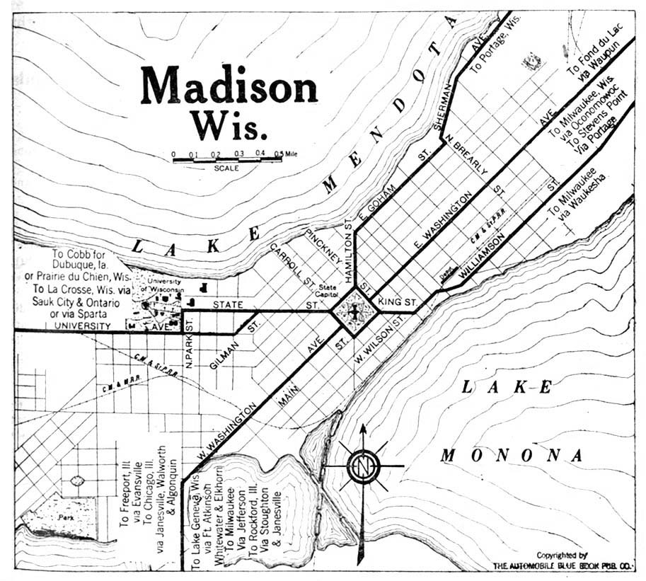 Madison, City Map, Wisconsin, United States 1920