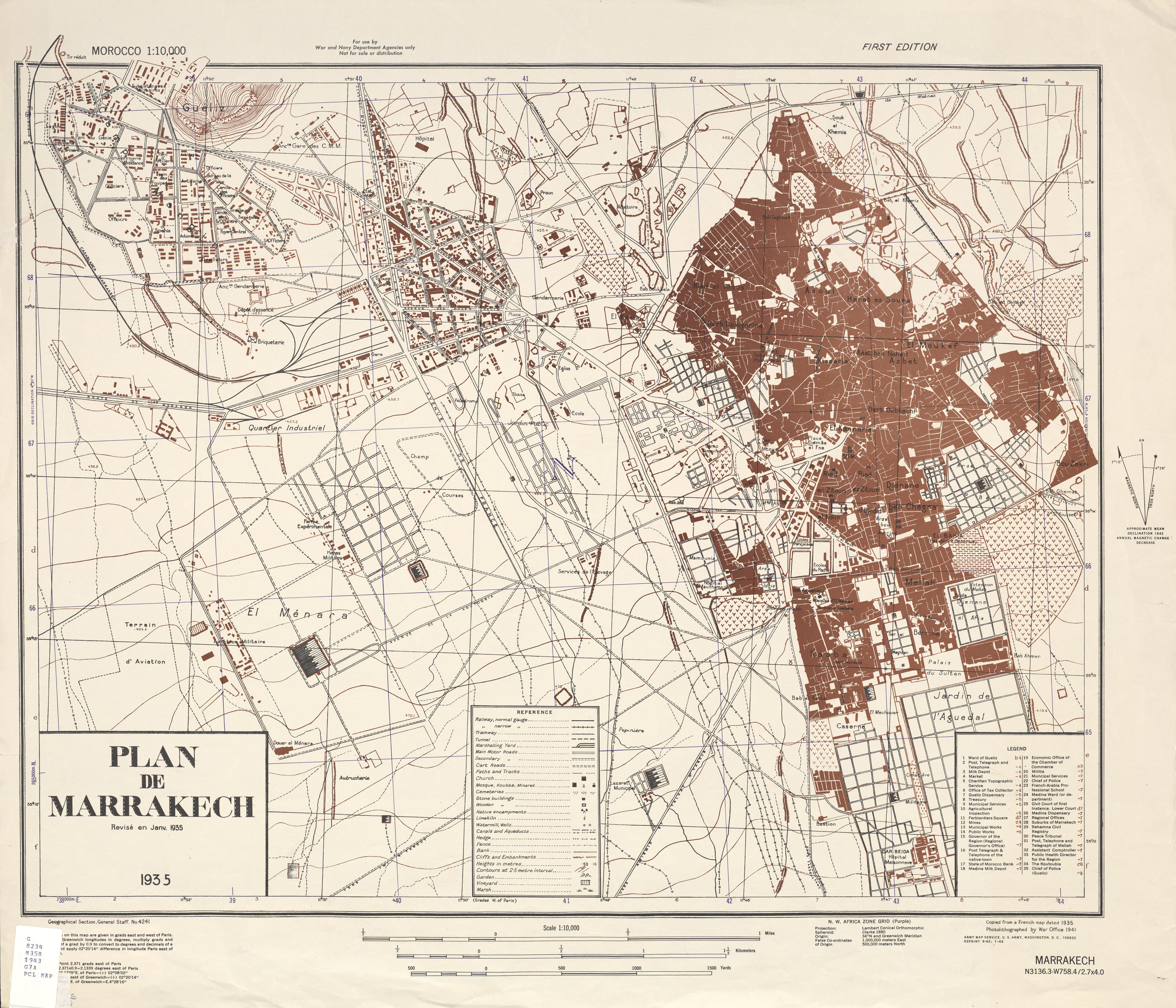Mapa de la Ciudad de Marrakech, Marruecos 1943
