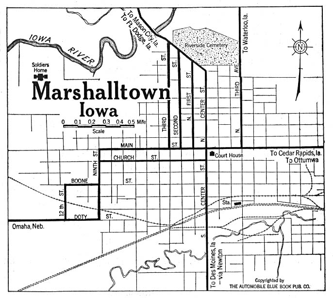 Marshalltown City Map, Iowa, United States 1919
