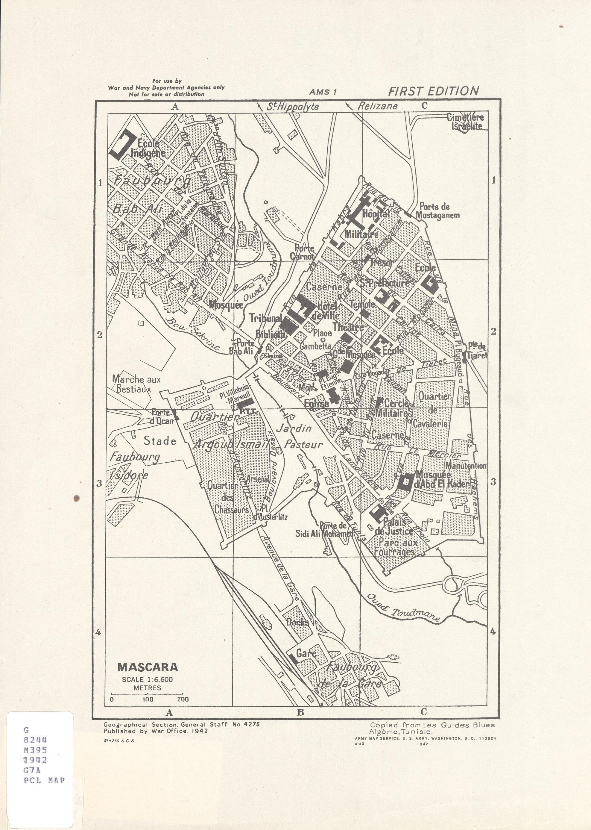 Mascara City Map, Algeria 1942