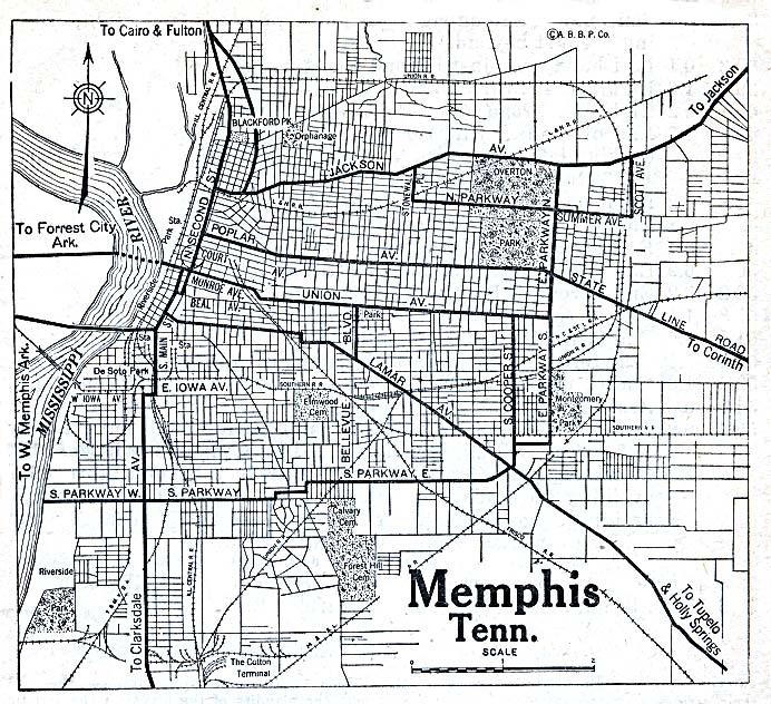 Mapa de la Ciudad de Memphis, Tennessee, Estados Unidos 1920