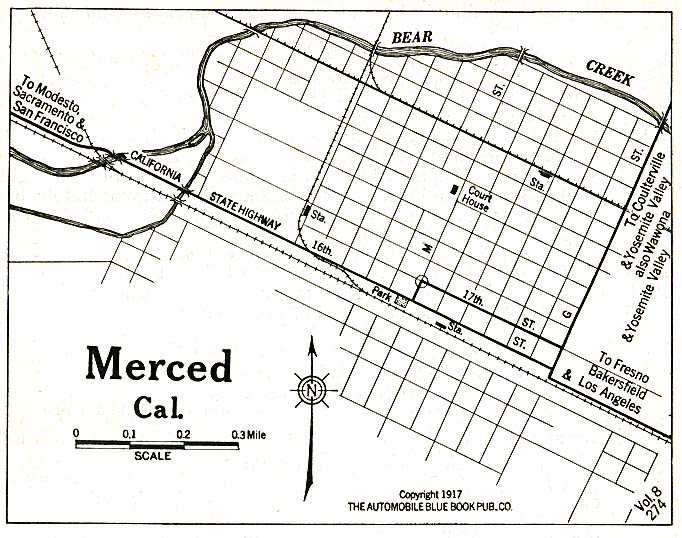Merced City Map, California, United States 1917