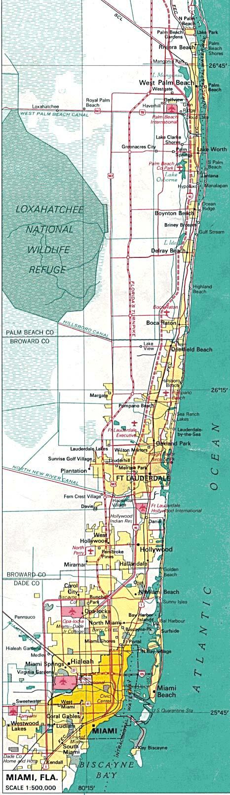 Mapa de la Ciudad de Miami, Florida, Estados Unidos