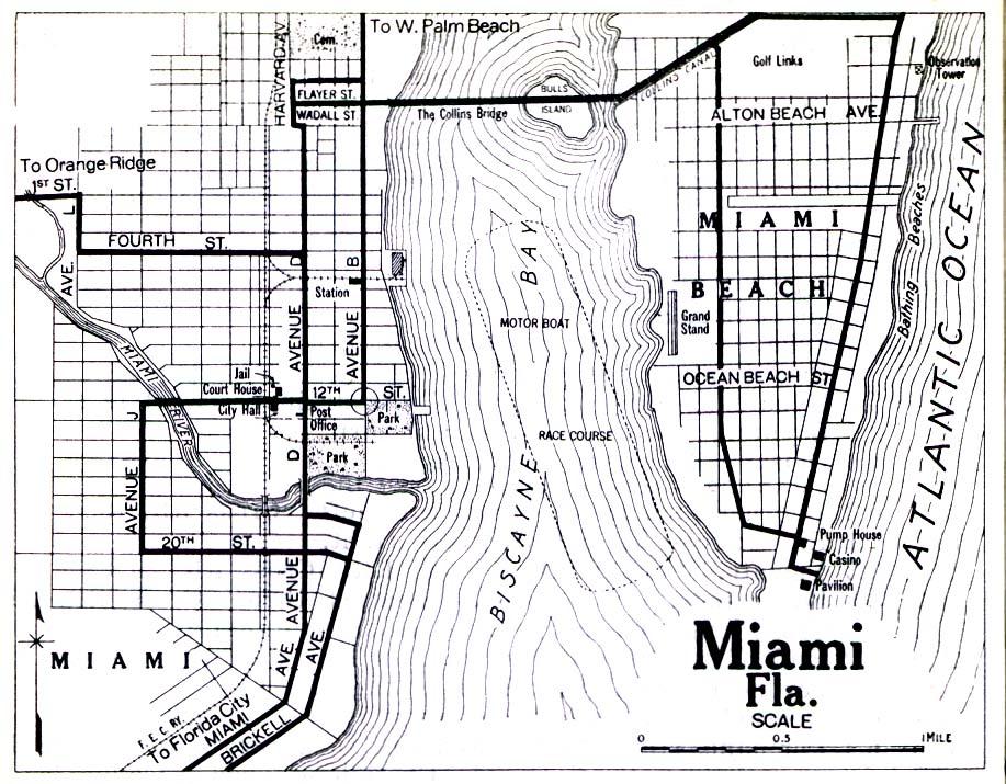 Miami City Map, Florida, United States 1919