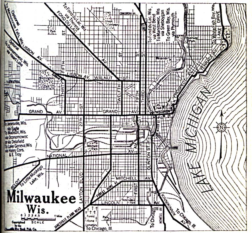 Milwaukee, City Map, Wisconsin, United States 1920