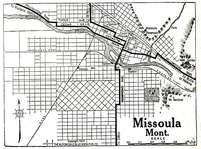 Missoula City Map, Montana, United States 1917