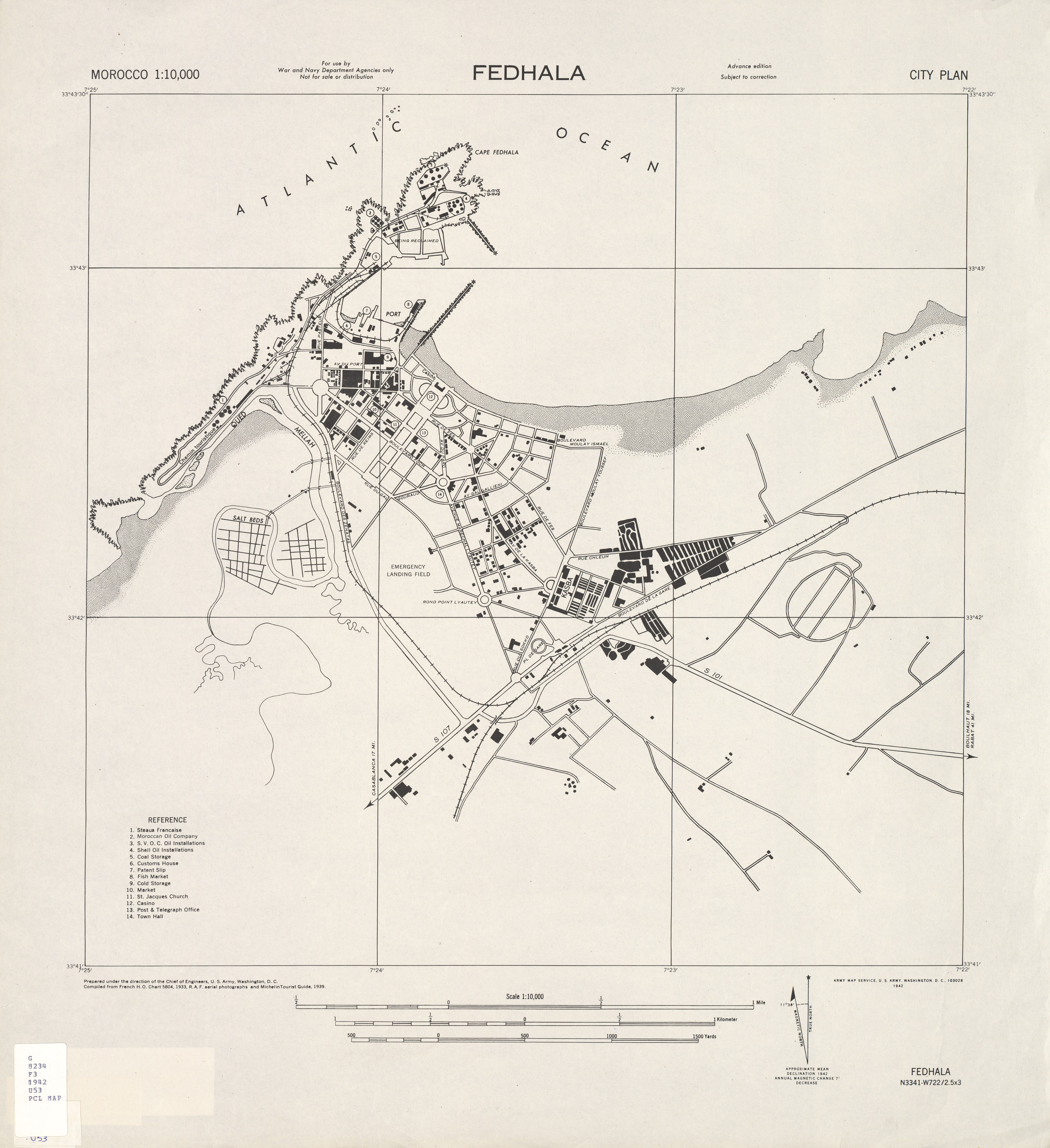 Mohammédia (Fedhala) City Map, Morocco 1942