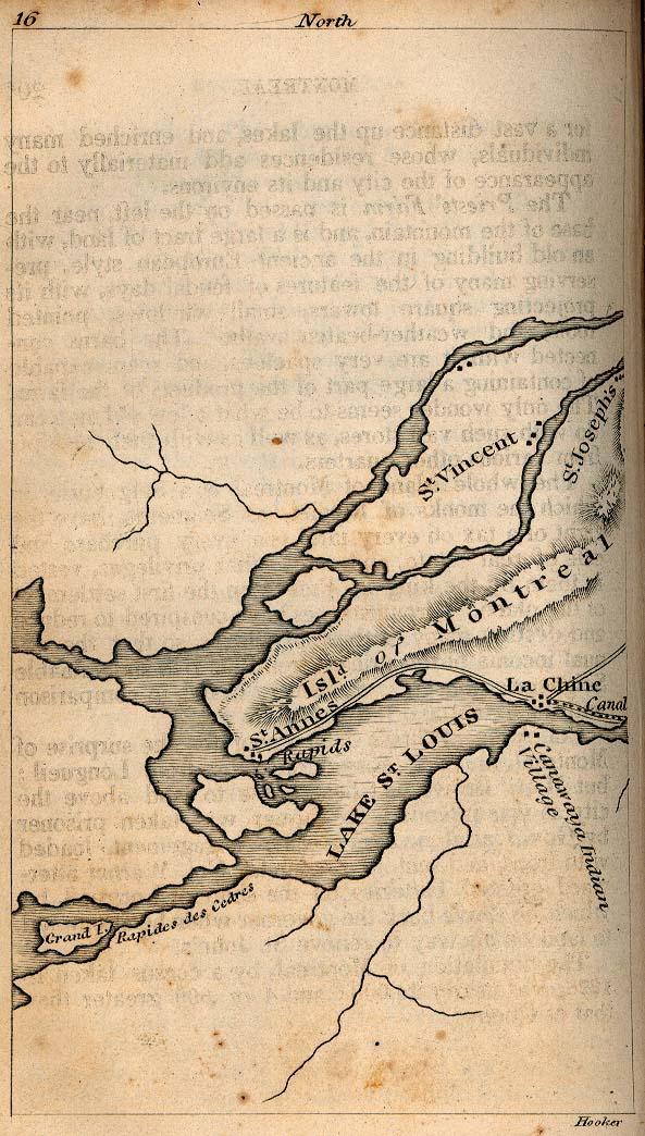 Mapa de la Ciudad de Montreal, Quebec, Canadá 1830