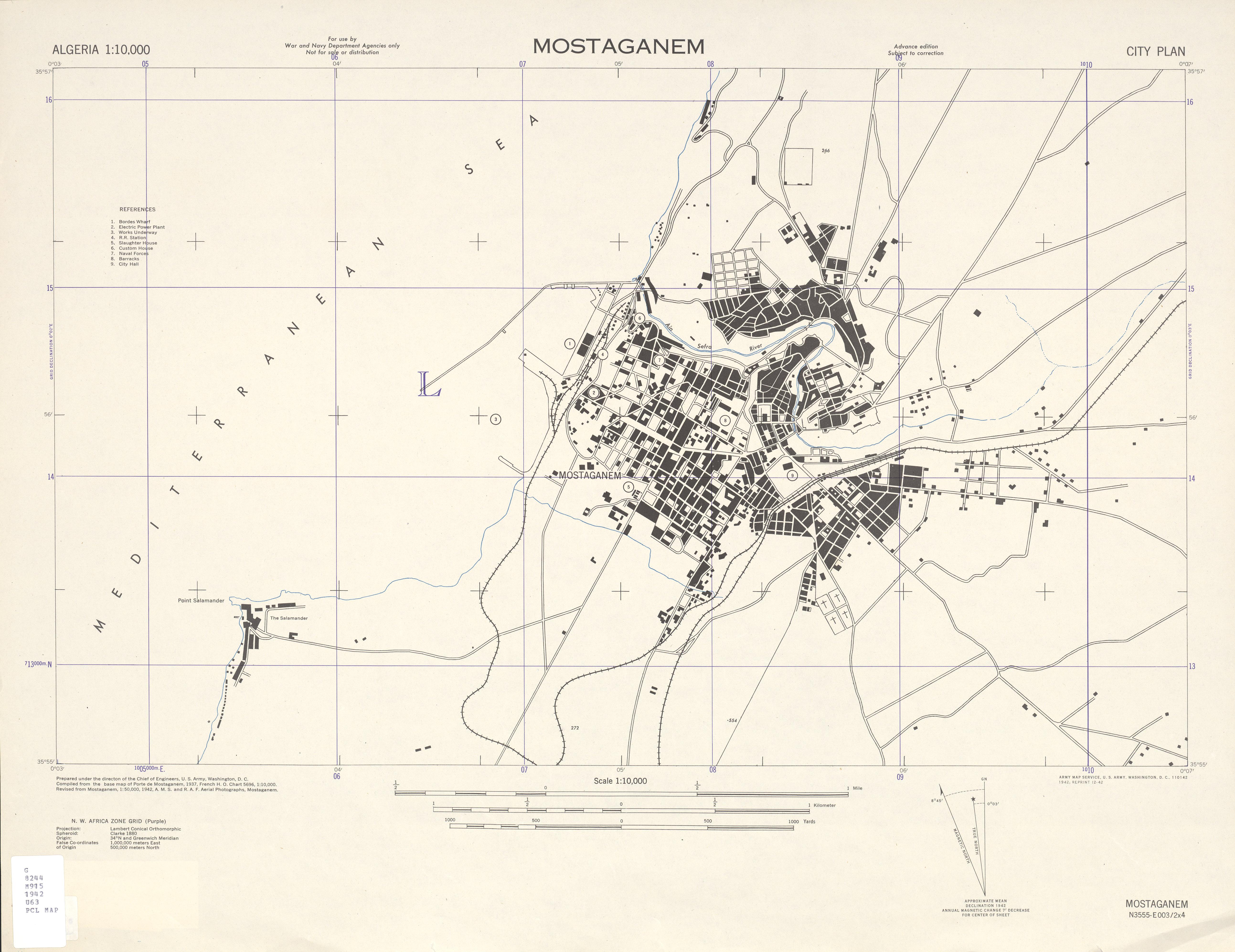Mostaganem City Map, Algeria 1942