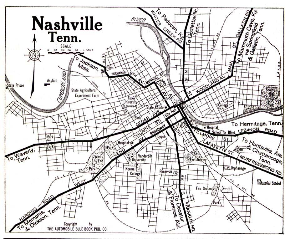 Mapa de la Ciudad de Nashville, Tennessee, Estados Unidos 1919
