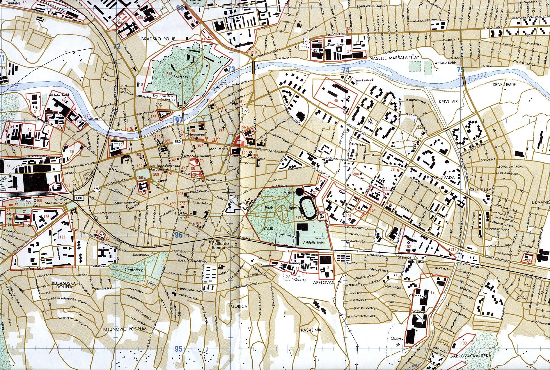 Mapa de la Ciudad de Niš, Serbia