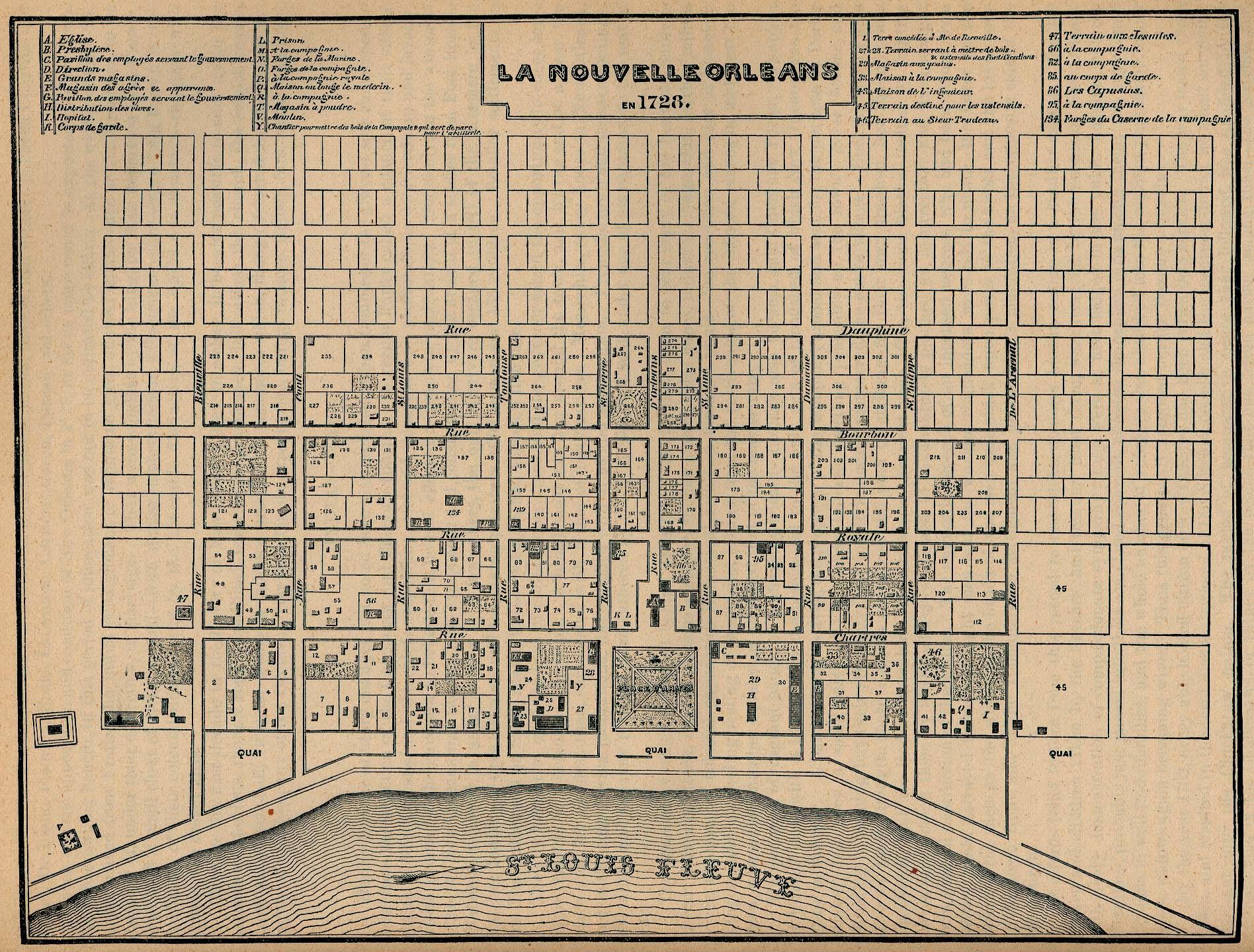 Mapa de la Ciudad de Nueva Orleans, Luisiana, Estados Unidos 1728