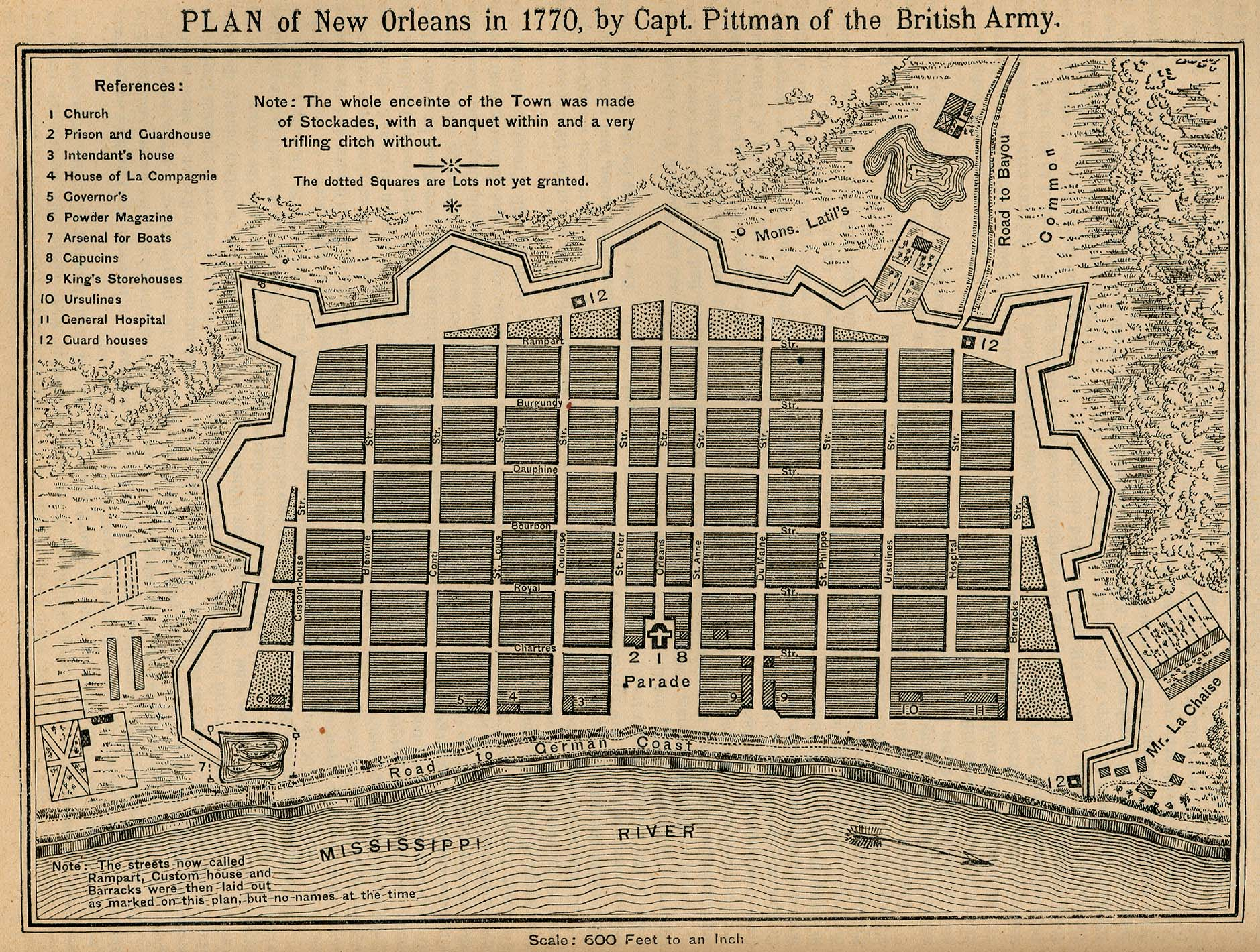 New Orleans City Map, Louisiana, United States 1770