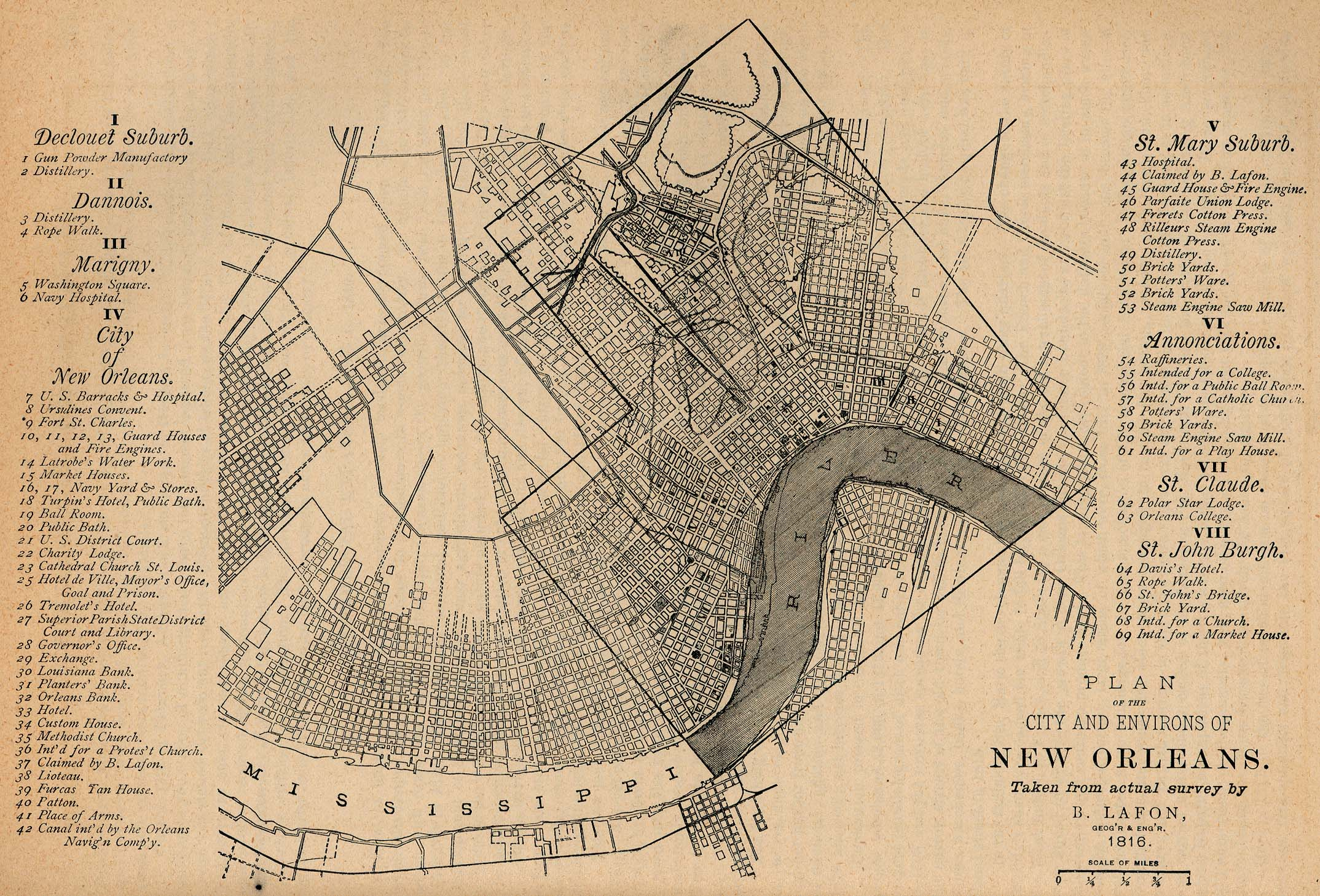 New Orleans City Map, Louisiana, United States 1816