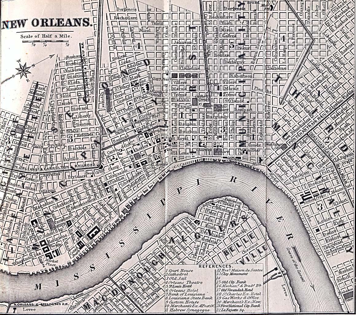 Mapa de la Ciudad de Nueva Orleans, Luisiana, Estados Unidos 1869