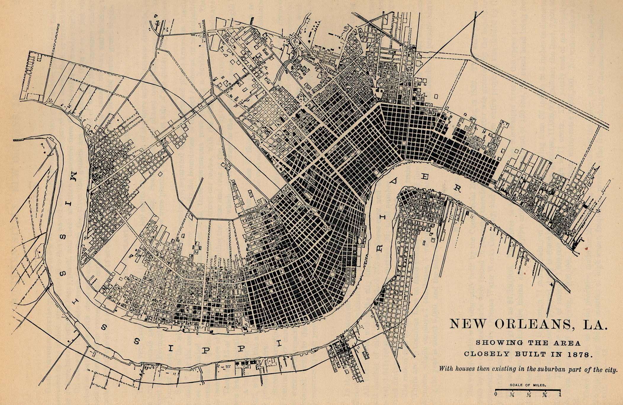 Mapa de la Ciudad de Nueva Orleans, Luisiana, Estados Unidos 1878