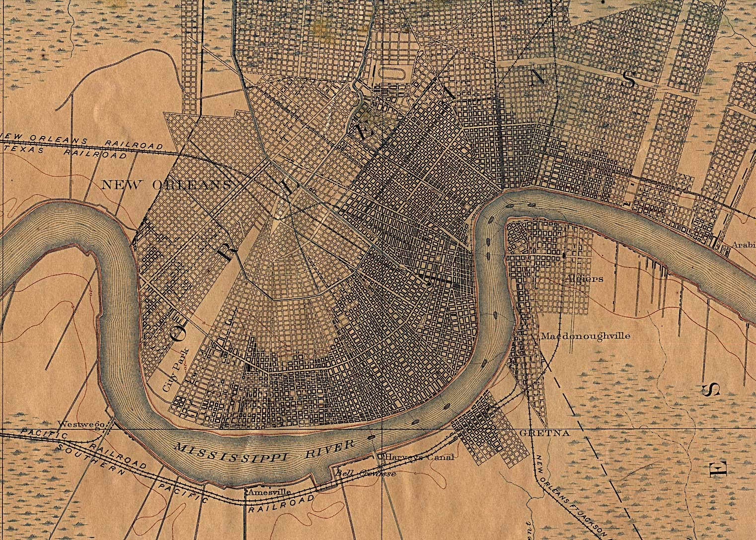 New Orleans City Map, Louisiana, United States 1891