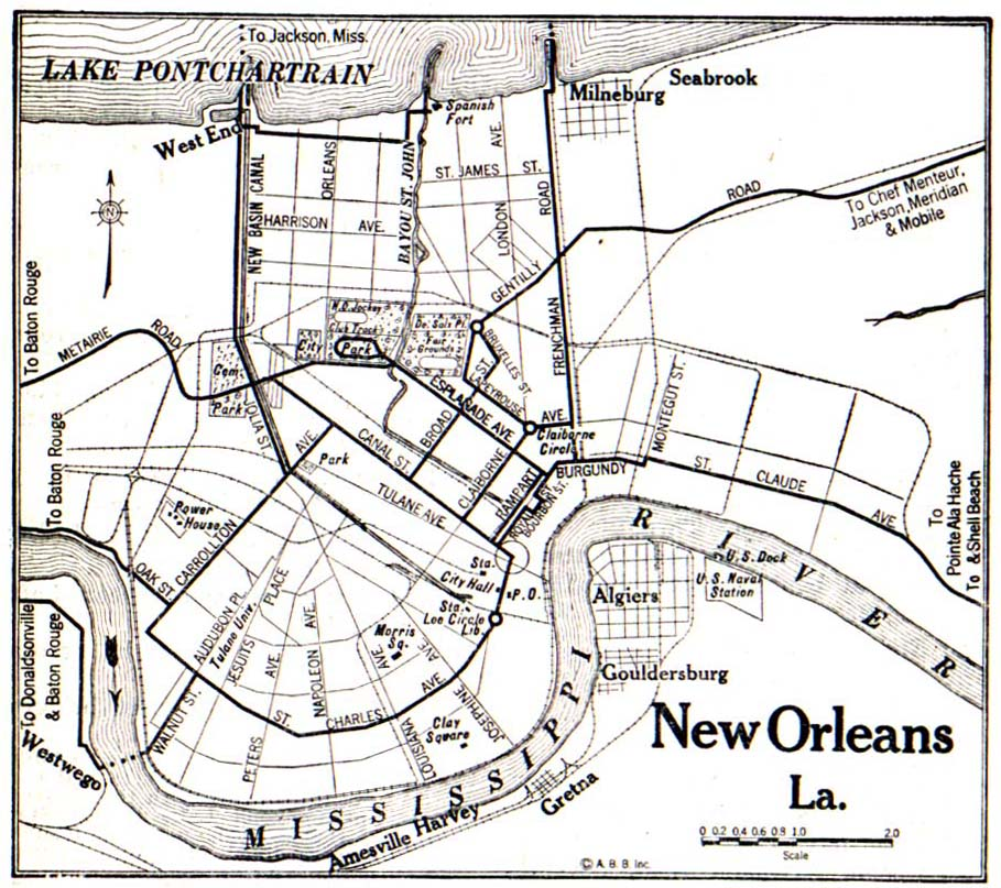 Mapa de la Ciudad de Nueva Orleans, Luisiana, Estados Unidos 1917