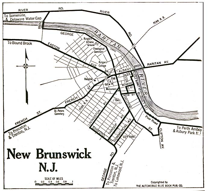 New Brunswick City Map, New Jersey, United States 1920