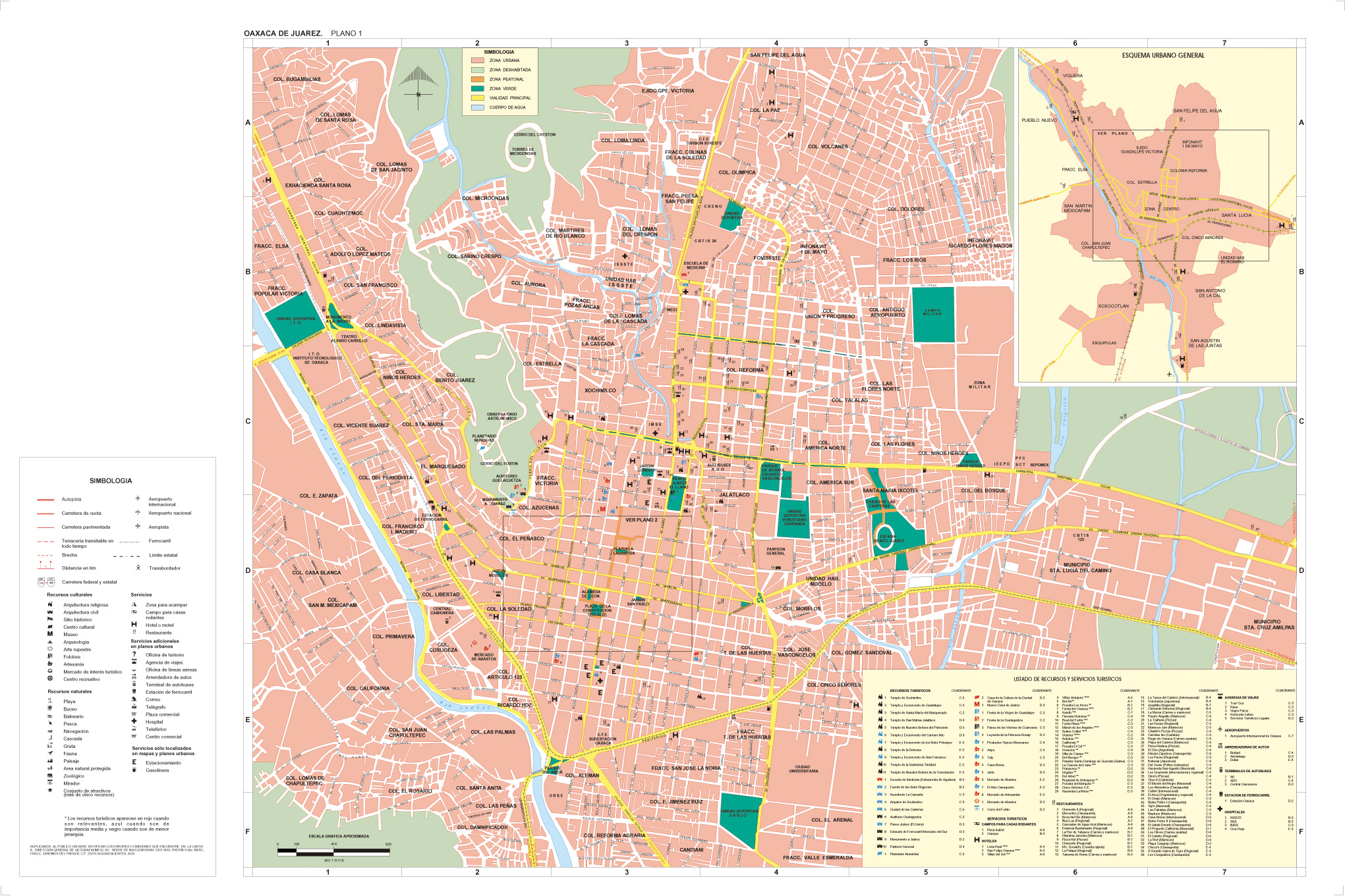 Oaxaca de Juarez City Map, Oaxaca, Mexico