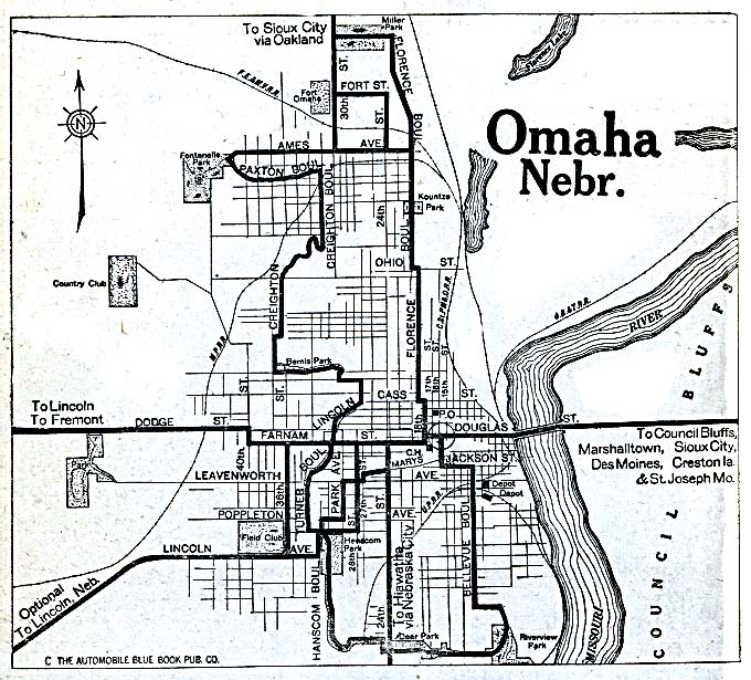 Omaha City Map, Nebraska, United States 1920
