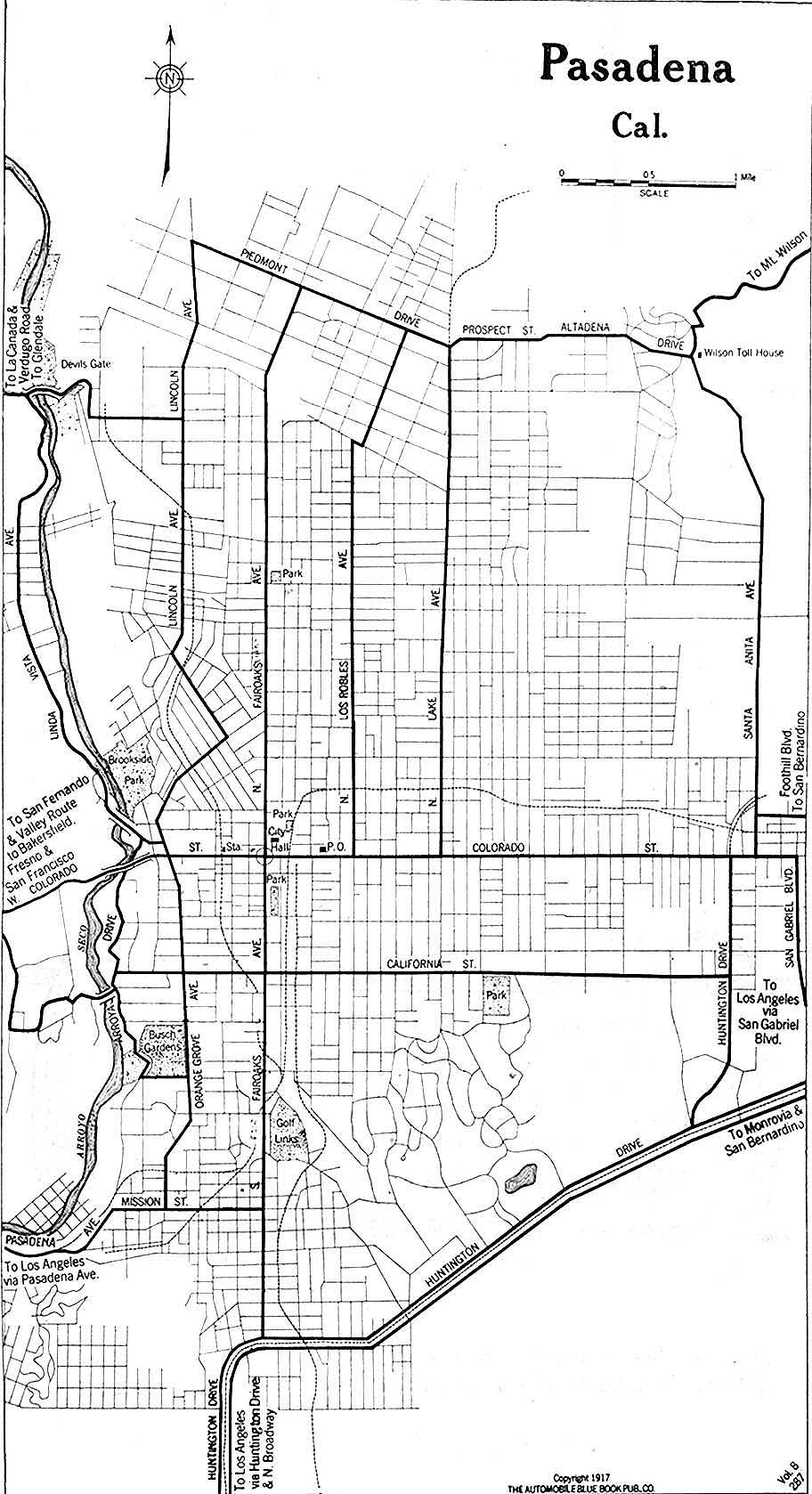 Pasadena City Map, California, United States 1917