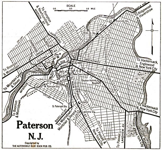 Mapa de la Ciudad de Paterson, Nueva Jersey, Estados Unidos 1920