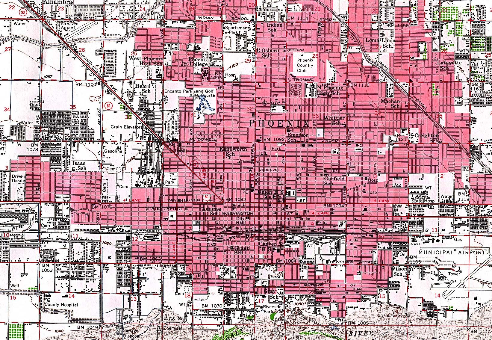 Phoenix City Map, Arizona, United States 1952