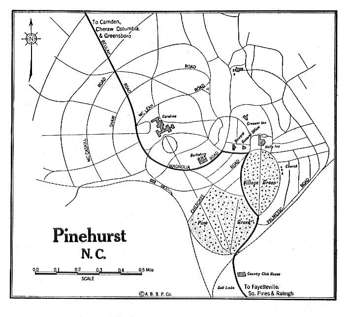 Pinehurst City Map, North Carolina, United States 1920