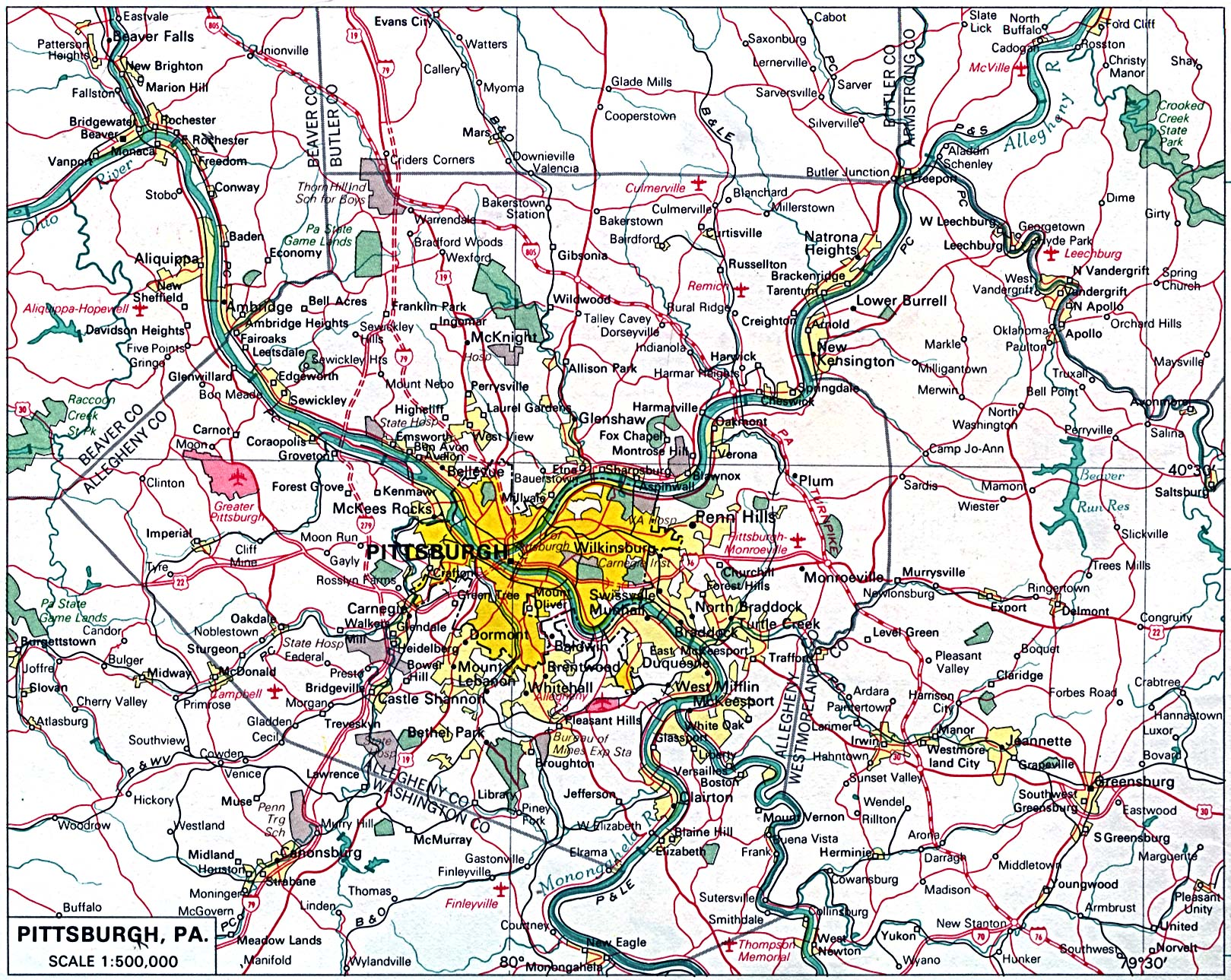 Pittsburgh City Map, Pennsylvania, United States