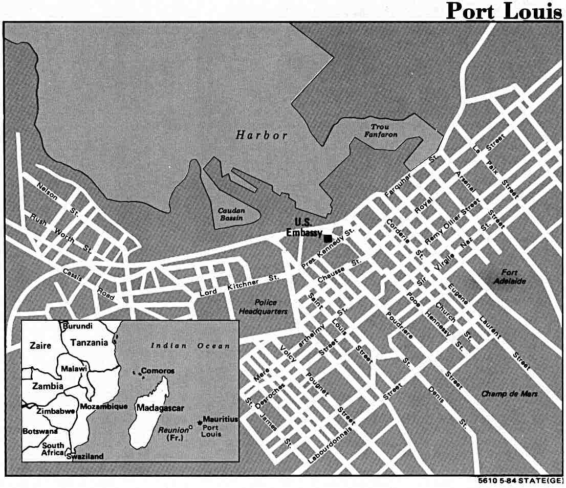 Port Louis City Map, Mauritius