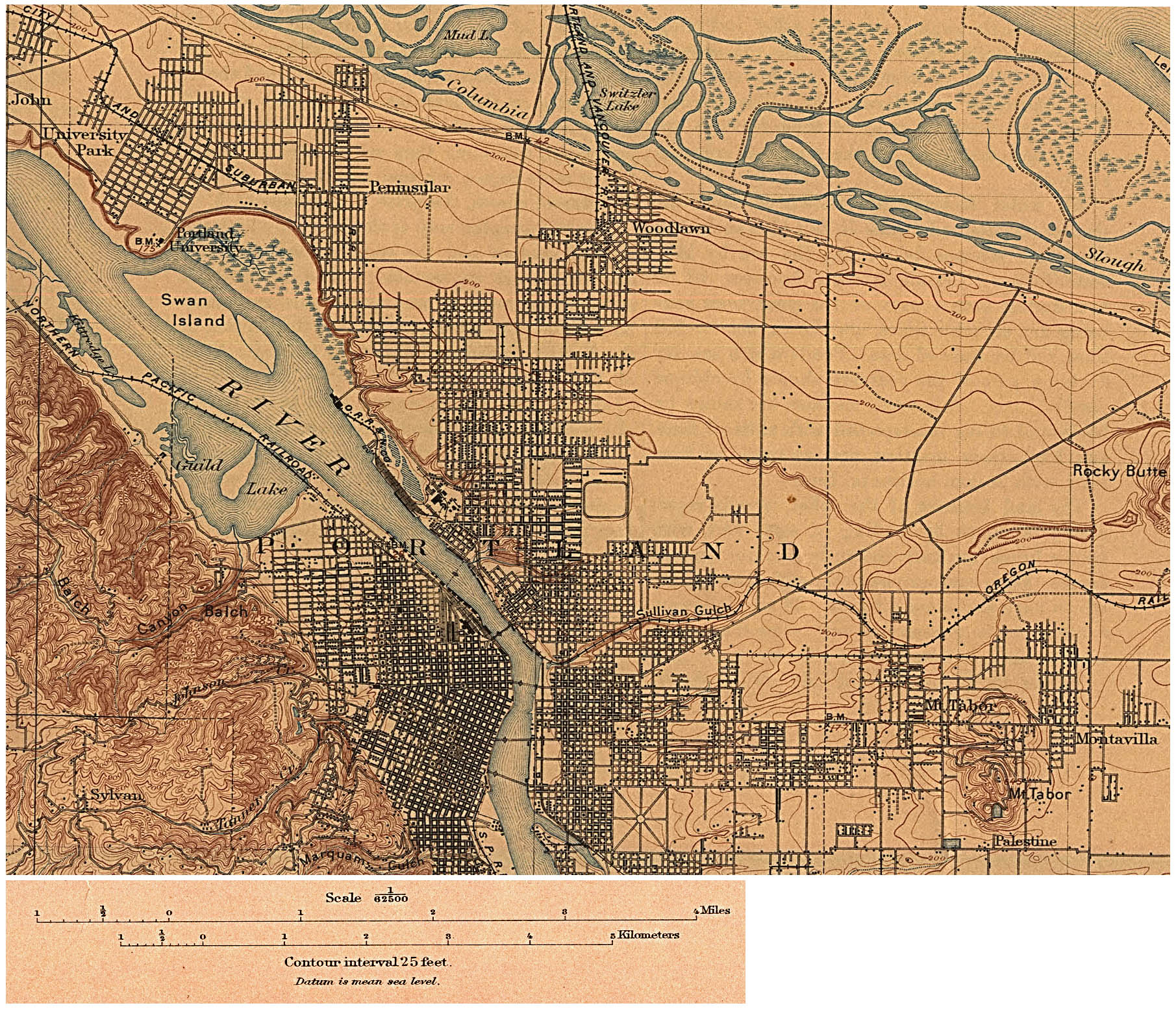 Portland City Map, Oregon, United States 1897