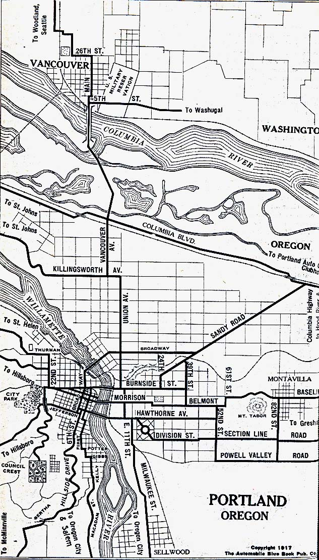 Portland City Map, Oregon, United States 1917