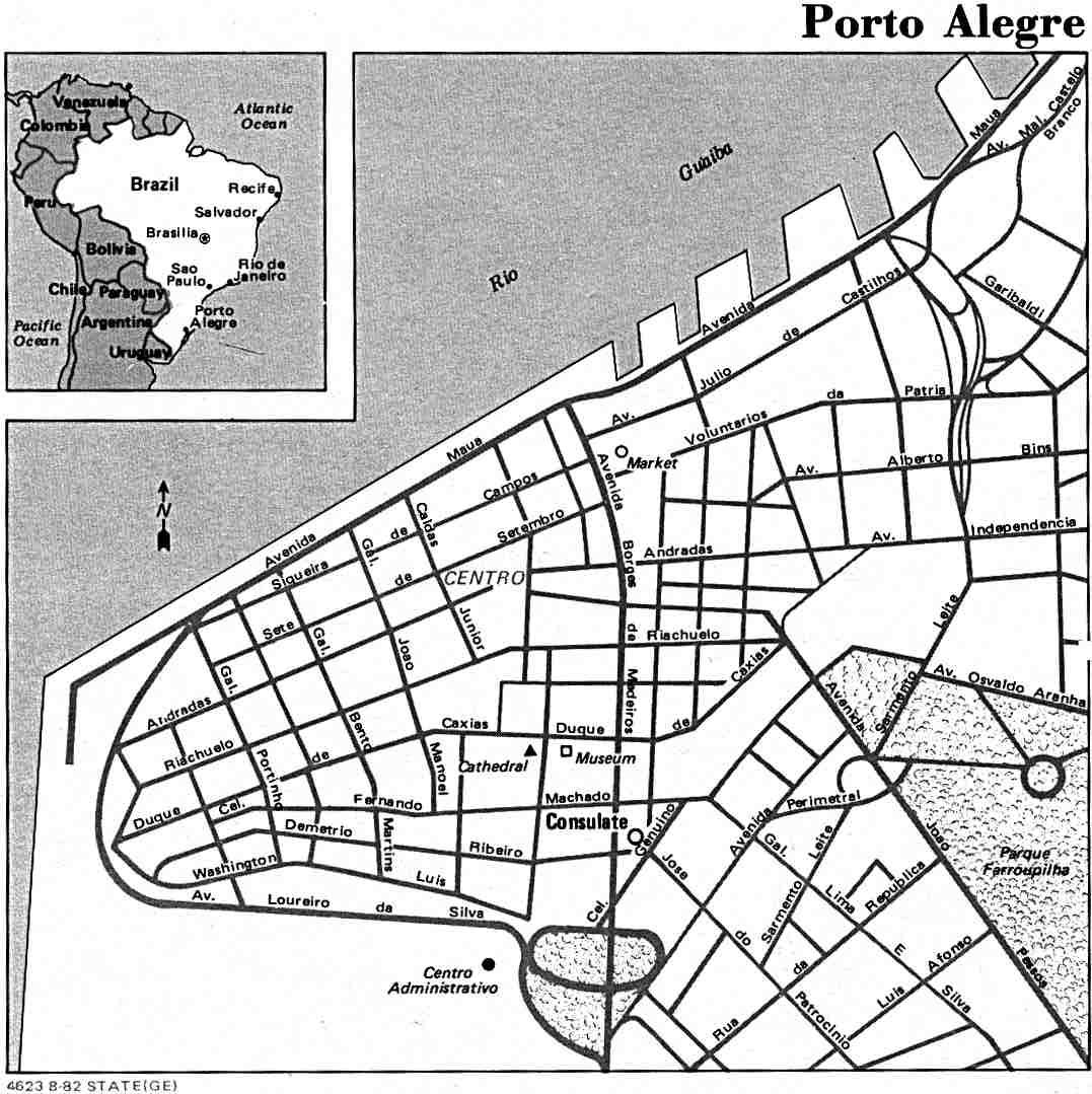 Mapa de la Ciudad de Porto Alegre, Brasil