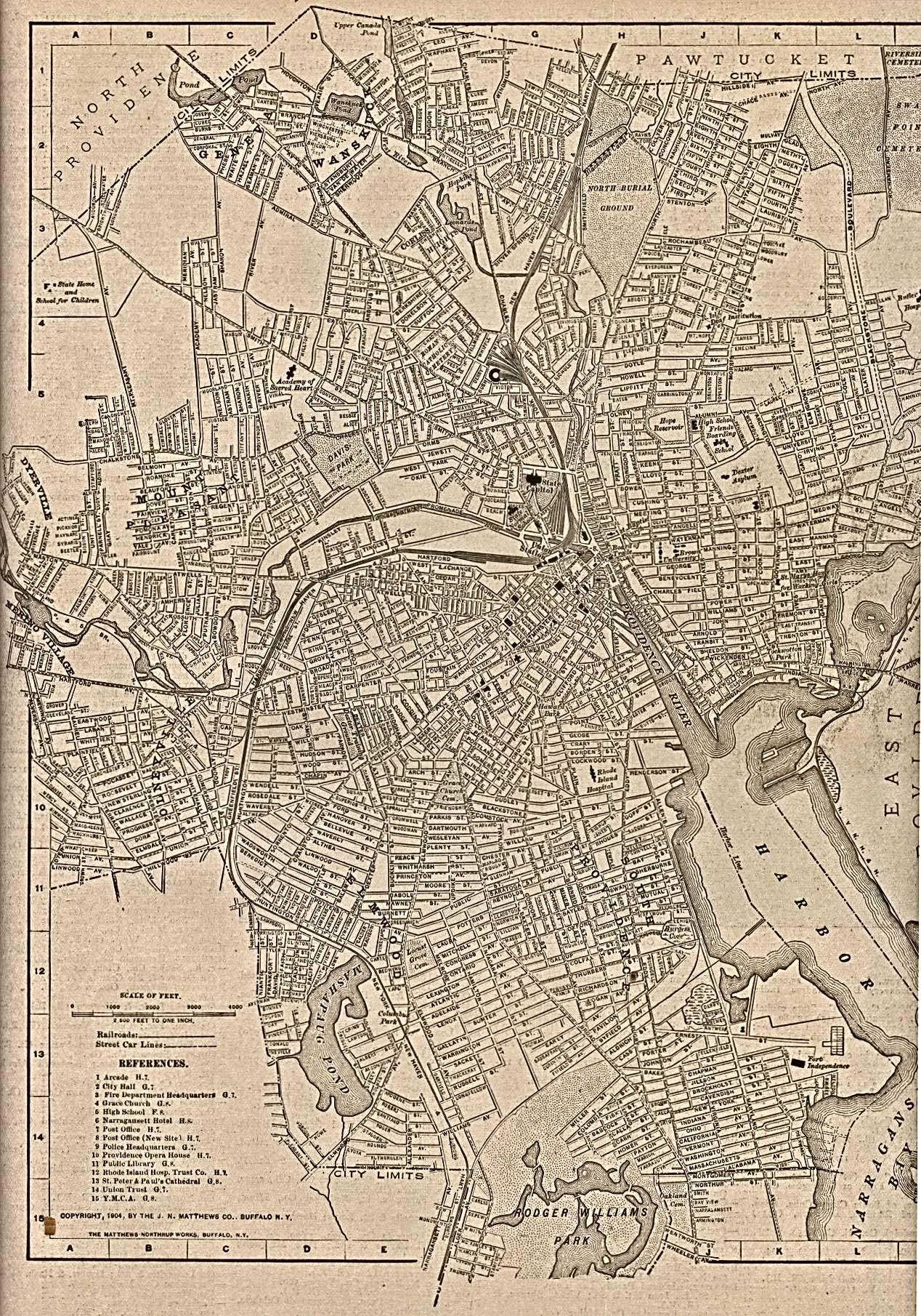 Providence City Map, Rhode Island, United States 1917