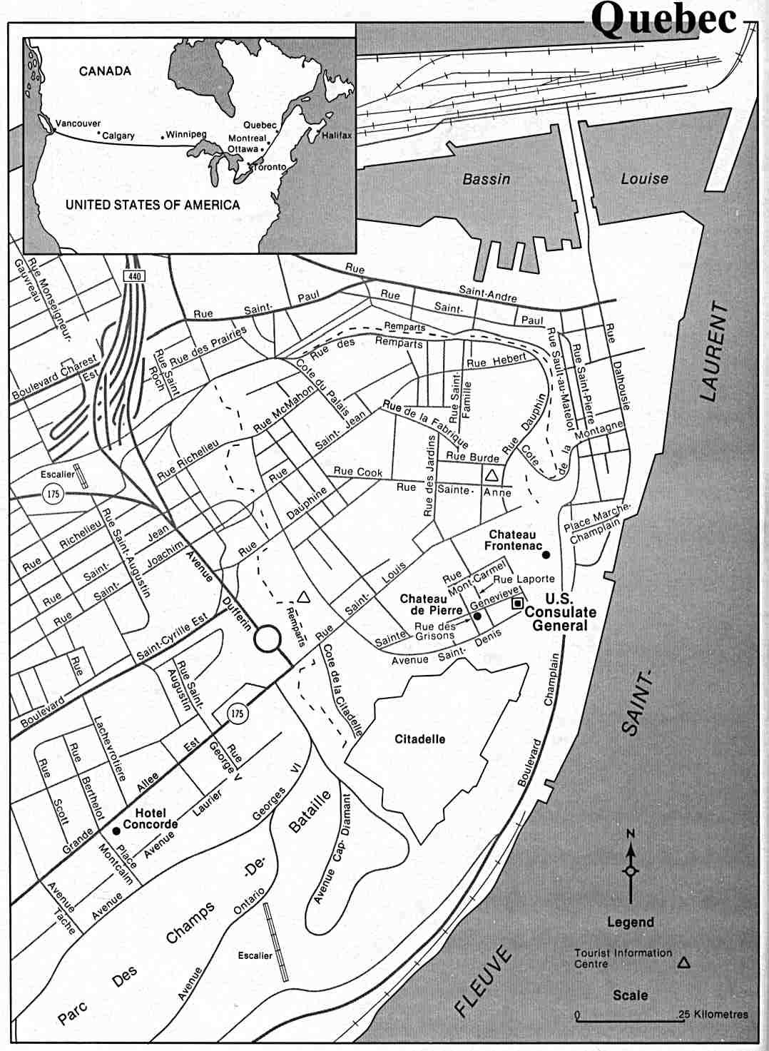 Mapa de la Ciudad de Quebec, Québec, Canadá