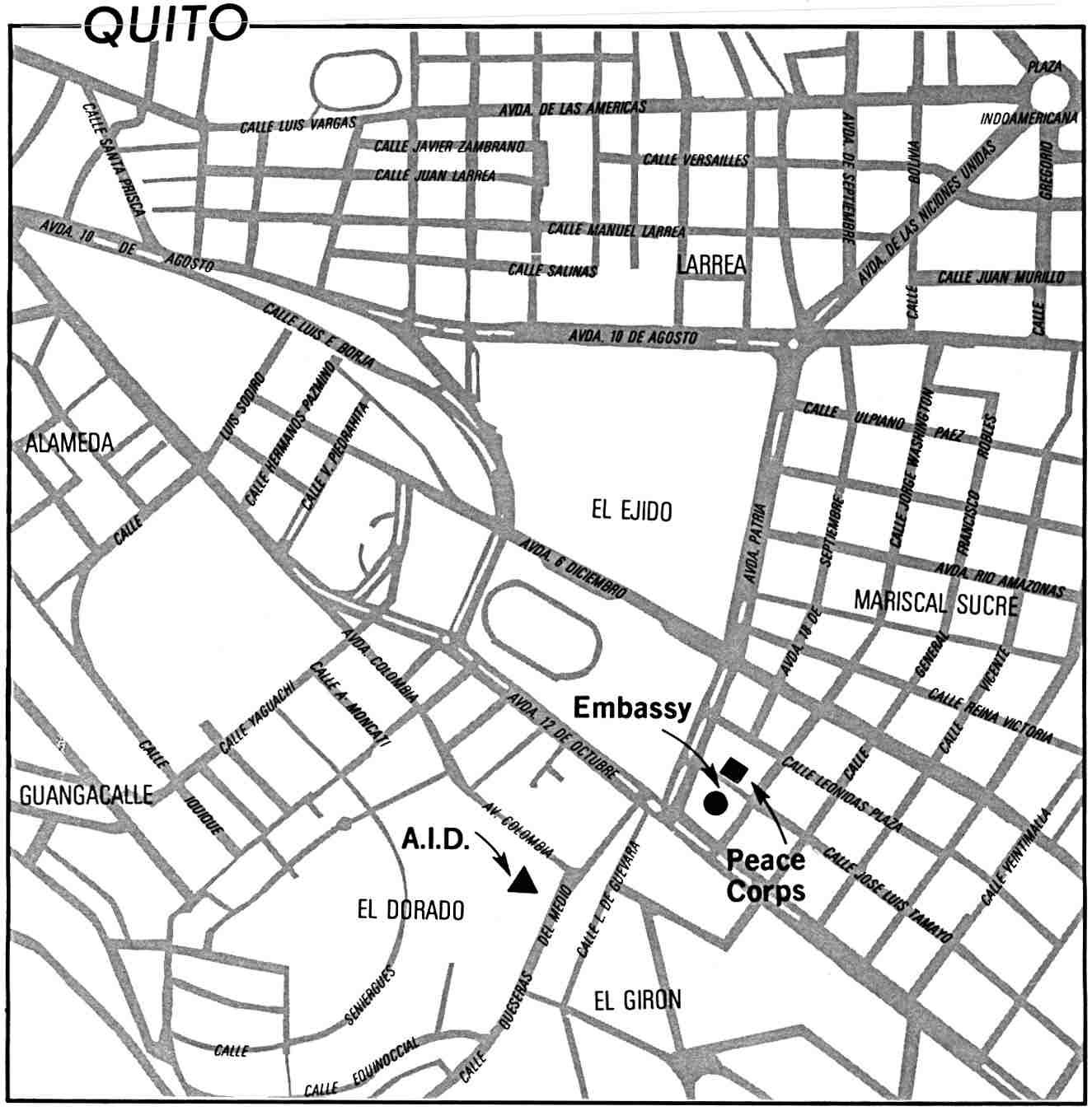 Mapa de la Ciudad de Quito, Ecuador